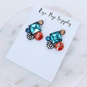 Multicolor crystal stud earrings orange blue